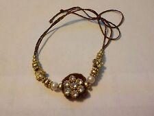 "Vintage Clear Rhinestones, Faux Pearls, Gold Tone Beads & ""Fur"" Cord Bracelet"