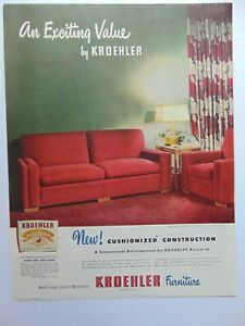 1947 KROEHLER FURNITURE RED COUCH and CHAIR art print ad