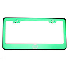 Green Chrome License Plate Frame Stainless Steel Laser Engraved Fit Nissan Logo