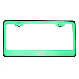 Green Chrome License Plate Frame Stainless Steel Laser Engraved Fit Nissan Logo