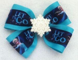 "Girls Hair Bow 4"" Wide Frozen Elsa Aqua Ribbon Snowflake French Barrette"