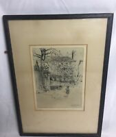 Antique Arthur Hugh Fisher Grays In Christmas Signed Engraving 1867 - 1945