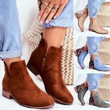 Ladies Womens Mid Heel Side Zip Chelsea Block Low Heel Casual Ankle Boots Size