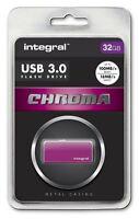 Integral 32GB CHROMA USB 3.0 Capless Flash Drive in Pink. INFD32GBCHR3.0PK