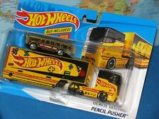 HOT WHEELS  PENCIL PUSHER CAR INCLUDED DETACHABLE TRAILER 2 PACK *BRAND NEW*