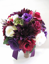 Wedding Flowers silk Bouquet 15 piece Bridal PURPLE PLUM BURGUNDY Succulent