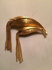 Brooch Pin with Two Tassels Amazing! Vintage Signed Kramer Goldtone Metal