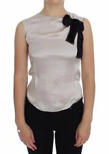 NWT $370 DOLCE & GABBANA D&G Silver Sleeveless Silk Blouse T-shirt s. IT36 /US2