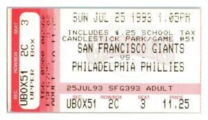 1993 San Francisco Giants Philadelphia Phillies 7/25 Ticket Barry Bonds HR *ST1U