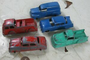 """5 Vintage 1950's Die Cast 3 1/2"""" Tootsie Toy Trucks Fire Truck Cars"""