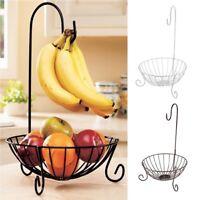 """17"""" Kitchen Metal Fruit Basket with Detachable Banana Hanger Holder Hook"""