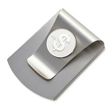 Storus Smart Money Clip with $ SIgn Medallion-Brushed Stainless Finish/Silver