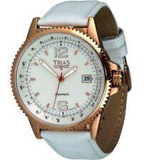Trias Orologi Unisex Earnshaw in acciaio inox/oro Rosa BIANCA IN PELLE Uhrband