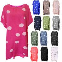 Ladies Italian Polka Dot  Linen Baggy Tunic Women Summer Lagenlook Top Plus Size
