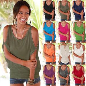 Womens Casual Shirt Cold Shoulder Blouse Tee Loose Sweatshirt Baggy Ladies Tops