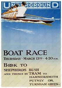 The Boat race :  vintage London Underground poster reproduction.