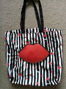 Lulu Guinness Red Lips Foldaway Shopping Bag Excellent Condition
