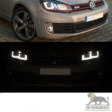 VW Golf 6 VI LED Scheinwerfer Set 08-12 Rote Leiste 3D U-LED GTI LOOK Schwarz