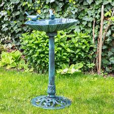 Vogeltränke mit Futterplatz, Garten/Balkon Deko Vogelbecken Muschel grün, H 82cm