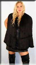 New Black Knitted Mink Fur Cape Efurs4less