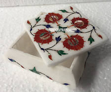 "4""x4""x2"" Marble Jewelry Box White Stone Handicrafts Art Craft Gifts Decor H3514"