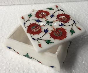 "4""x4""x2"" Marble Storage Box Carnelian Inlay Floral Art Handmade Home Decor H3514"