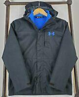 UNDER ARMOUR Medium Boys Youth 3 in 1 Hooded Black Winter Jacket Coat UA Storm