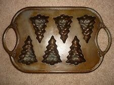 Vintage Rowoco Cast Iron Christmas Tree Shaped Muffin Pan or Cornbread Molds