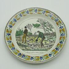 Montereau. Assiette faïence Chasse à pied aux chiens courants, XIXe