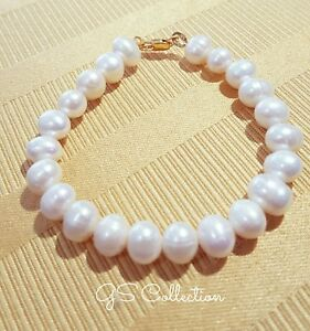 Cream/White Akoya Pearl bracelet  7-8MM  w/ 18K yellow gold clasp.