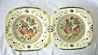 "2 Certified International Pamela Gladding La Toscana Pear 11"" Sq. Dinner Plates"