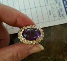2.75 CT Diamonds Yellow GOLD Large Oval AMETHYST  COCKTAIL RING 14KT sizeable