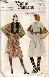 70s Vogue Sewing Pattern 9657 Misses Dress Vest Shawl Size 10 Bust 83