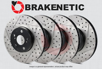 [FRONT + REAR] BRAKENETIC PREMIUM Drilled Slotted Brake Disc Rotors BPRS34845
