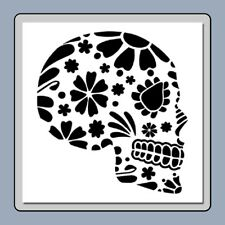 8 X 8 Sugar Skull Face/Profile STENCIL Day of the Dead/Mexican Halloween/Flowers