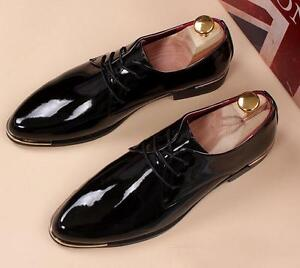 Men lace up Patent Leather Shoes Block Heel Pointy Toe Casual Party Shoes Fgg01