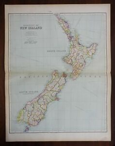 Dominion of New Zealand North & South Island 1914 Philip & Son scarce large map