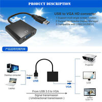 USB 3.0 to VGA Video Display External Cable Adapter for Win 7 8 Black Premium