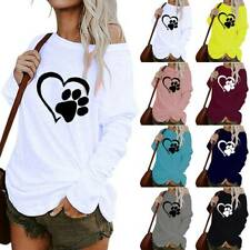 Womens Long Sleeve Shirt Blouse One Shoulder Print Baggy Oversize Pullover Tops