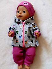 Puppenkleidung/Puppenbekleidung-Glitzer Herzen 3tlg.  Baby Born,Krümel, 43cm-NEU