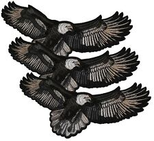 """Lot of 3 AMERICAN BALD EAGLE USA BIKER LARGE EMBROIDERED PATCH 11 1/2"""" Wide"""