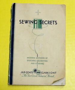 Vintage 1920s J&P Coats Threads Booklet SEWING SECRETS Sewing Hints & Techniques