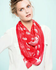 ALEXANDER MCQUEEN Coral & White Butterfly-Skull Chiffon Scarf. Made in Italy.