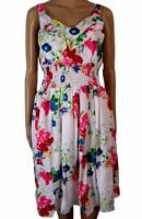 New Women's Gypsy Peasant Lined White Floral Summer Dress