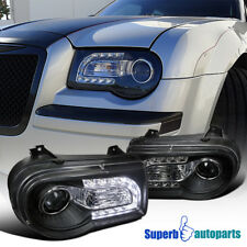 For 2005-2010 Chrysler 300C SMD LED DRL Projector Headlights Black