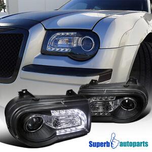For 2005-2010 Chrysler 300C Projector Headlights Black