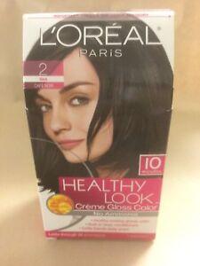 L'Oreal Healthy Look Creme Gloss Hair Color #2 Black Cafe' Noir ORIGINAL FORMULA