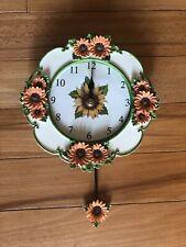 Cutout Sunflower Wall Clock Spring Floral Garden Sunflower Pendulum Wall Clock