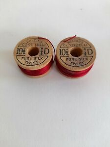 Vintage Wooden Spools Silk Thread Belding Corticelli Red #4120 10 yds