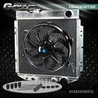"""Aluminum Radiator + 14"""" Cooling Fan For 64-66 FORD MUSTANG/SHELBY V8 L6 MT/AT"""